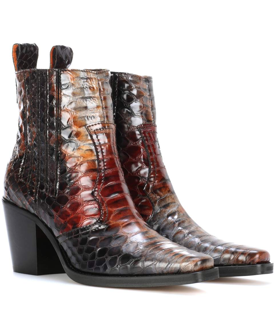GANNI Maryse Croc-Effect Leather Ankle Boots, Lraedy Lrowe