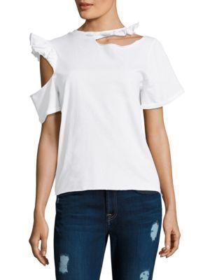 Endless Possibilities Cutout Ruffled Cotton-Jersey T-Shirt, White
