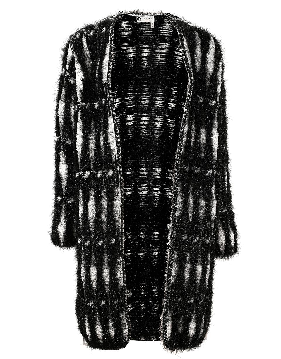 Lurex Jacquard Coat, Blk-Wht