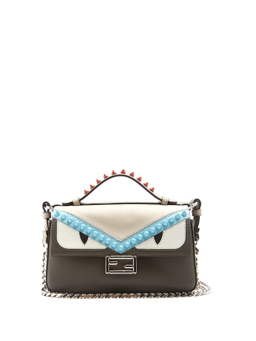 FENDI GRAY-LIGHT BLUE-RED DOUBLE MICRO BAGUETTE LEATHER TOP HANDLE BAG, GREY ad164123e3