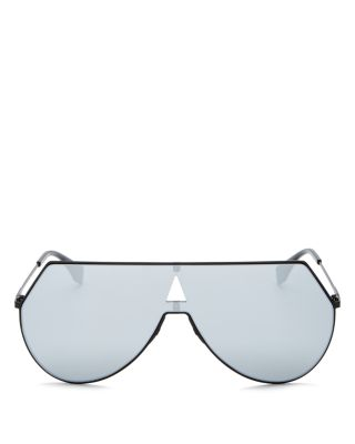 Ff 0193 003 Matte Black Eyeline Shield Sunglasses, Matte Black/Silver Mirror