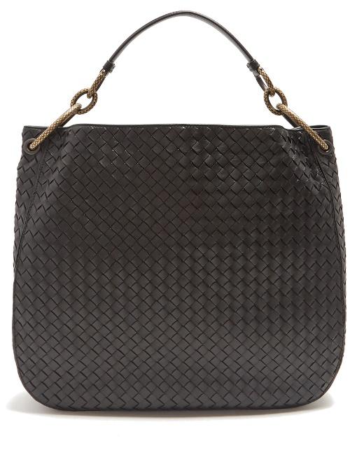 Loop Medium Intrecciato Leather Shoulder Bag, Black