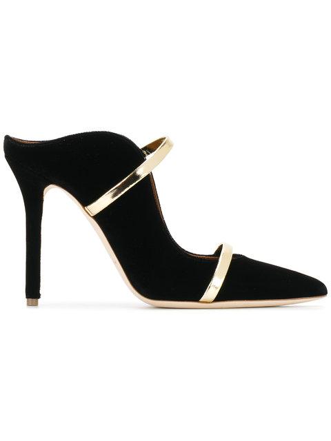 Maureen Taupe Velvet And Platinum Mirror Nappa High Heel Mule in Black