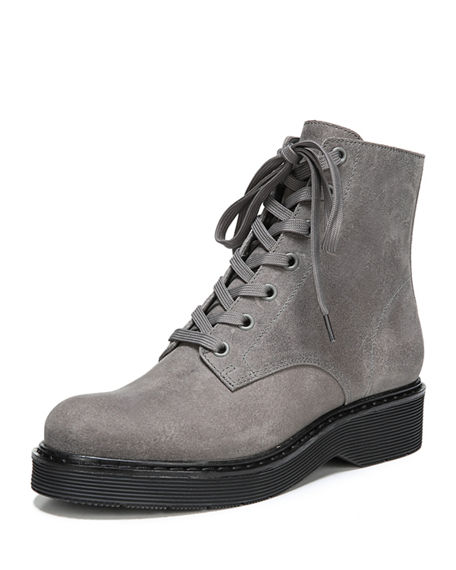 VINCE Monastir Leather Lace Up Combat Boots in Grey