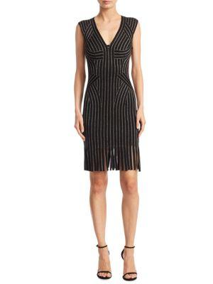 HERVE LEGER Lisette Metallic Fringe-Hem Cocktail Minidress in Black