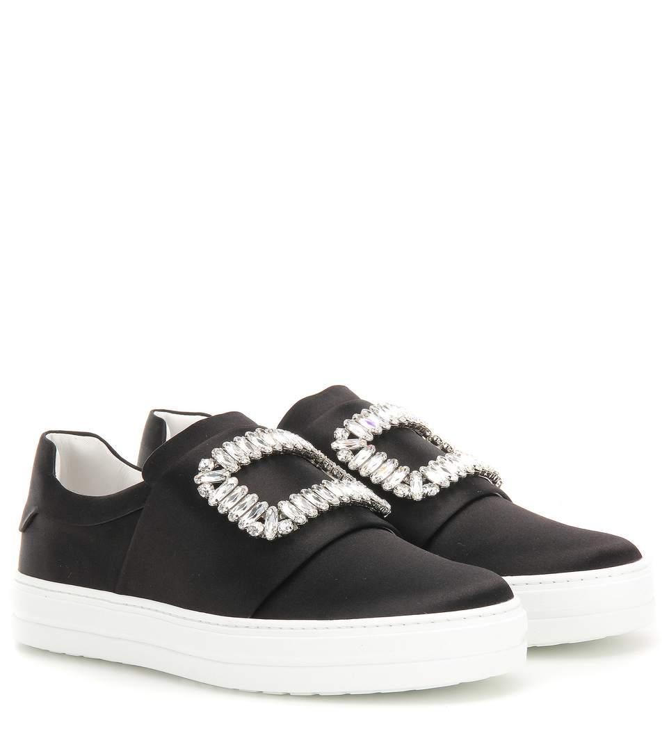 Sneaky Viv Embellished Satin Slip-On Sneakers in Black