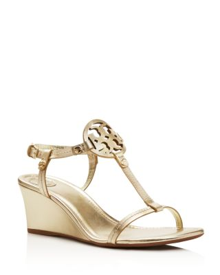 Miller T Strap Logo Wedge Sandals, Spark Gold