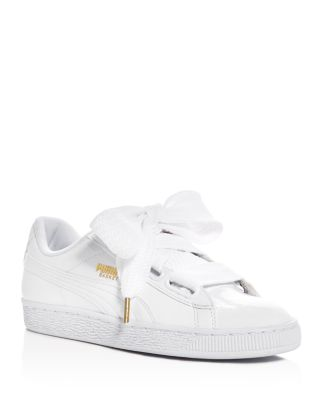 PUMA Women'S Heart Satin Bow Lace Up Sneakers in White