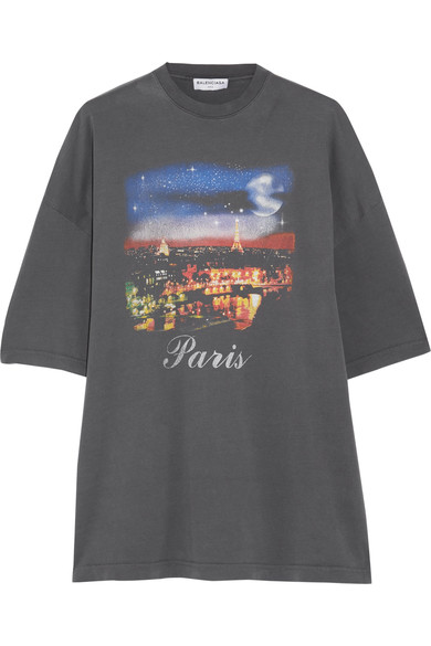 Oversized Printed Cotton-Jersey T-Shirt in Anthracite from Antonioli