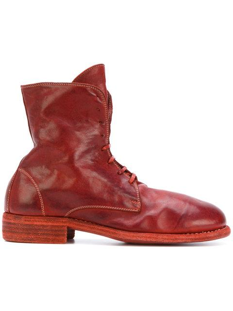 Guidi Lace-Up Boots - Red