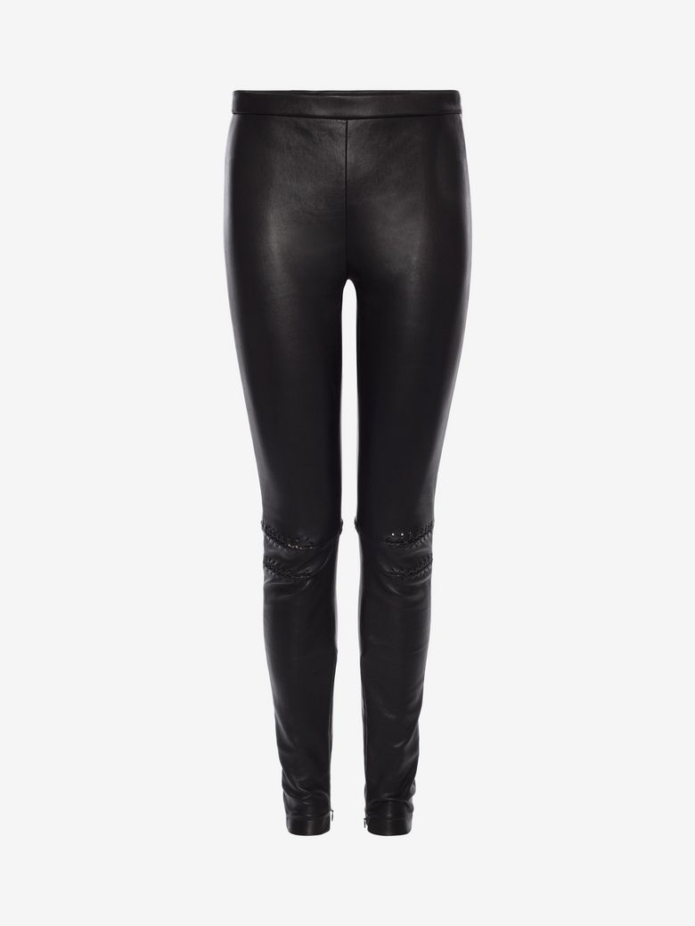 Studded-Side Lamb-Leather Leggings in Black