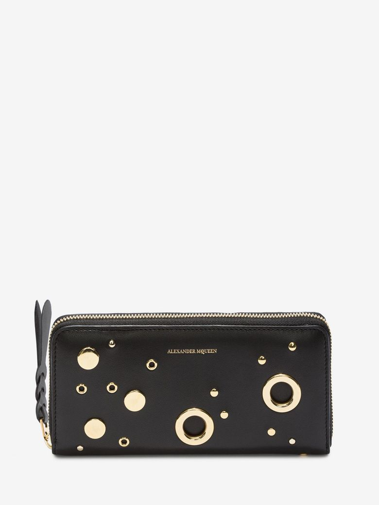 Eyelet And Stud Zip-Around Wallet, Black