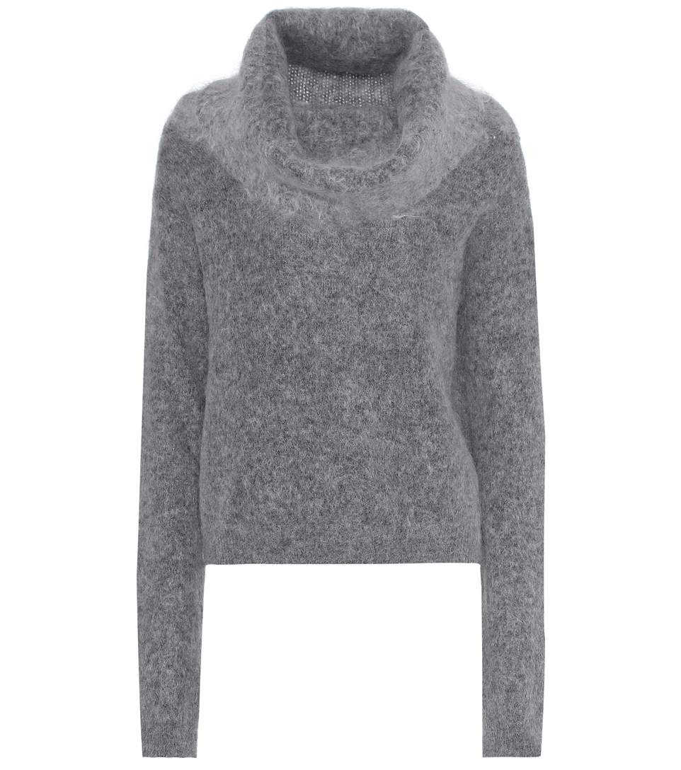 Cowl-Neck Mohair And Wool-Blend Sweater in Grey