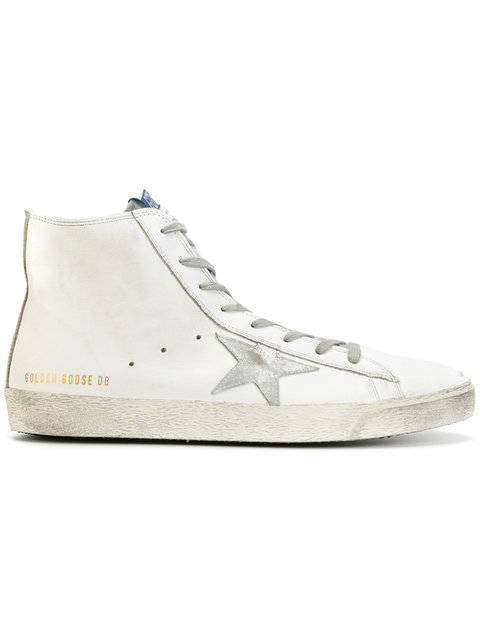 GOLDEN GOOSE Men'S Shoes High Top Leather Trainers Sneakers Francy in White