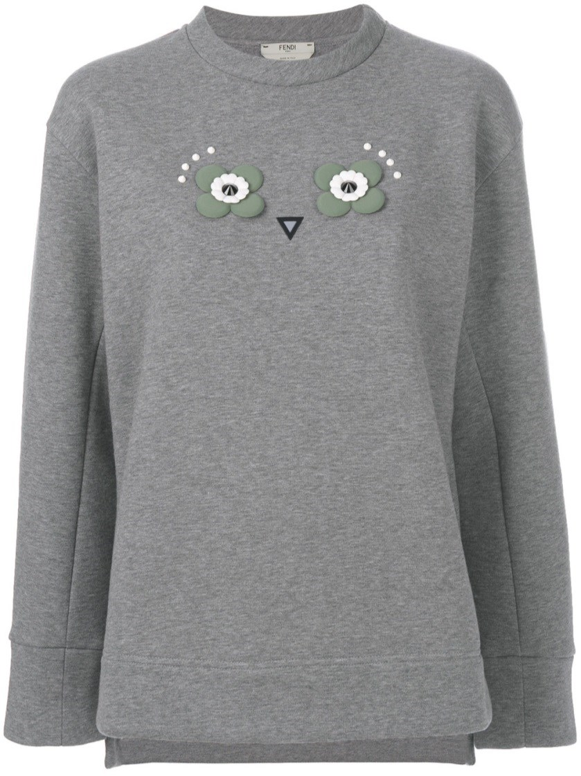Fendi Owl Appliqué Jumper - Grey