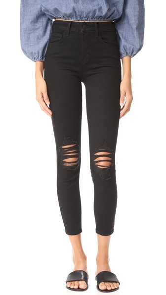 Margot High-Rise Skinny Ankle Jeans With Holes, Zinc