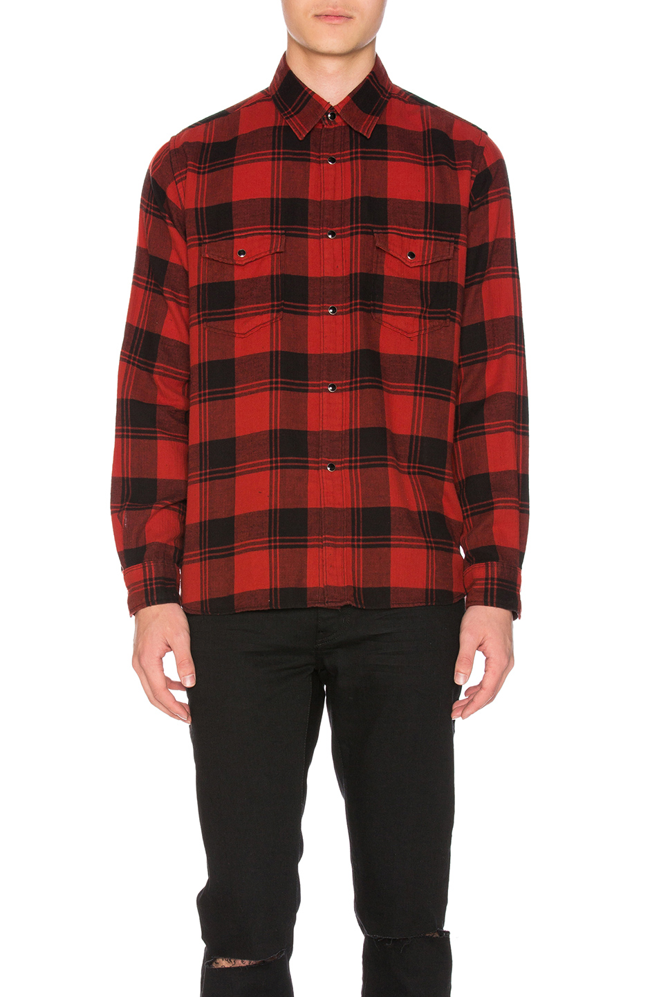Saint laurent oversized shirt in black and red plaid for Oversized red plaid shirt