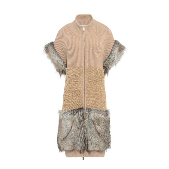Fur Free Fur-Trimmed Knit Vest in Brown