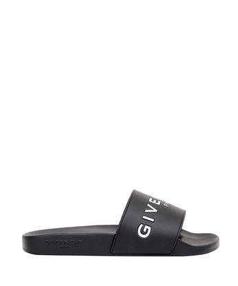 GIVENCHY 20Mm Logo Embossed Rubber Slide Sandals, Black in Multi Colors