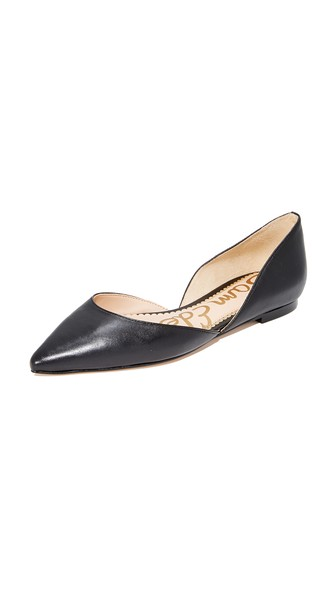 Rodney Pointed-Toe Leather Flat in Black