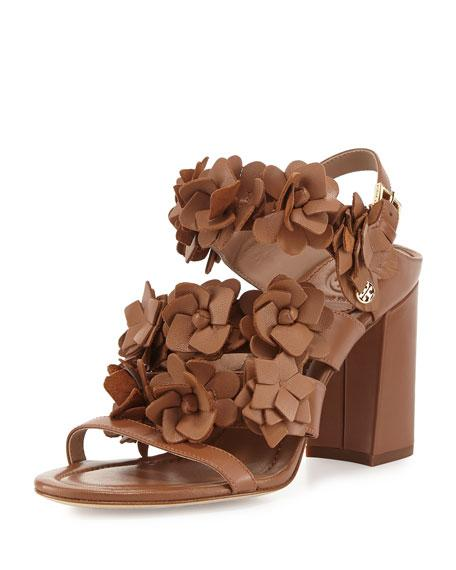 TORY BURCH Blossom Strappy Block Heel Sandals in Royal Tan