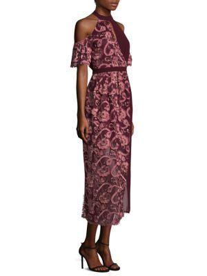 Tokyo Embroidered Lace Shift Dress, Tawny Port