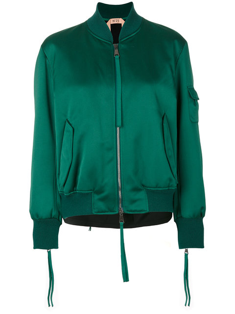 No21 - Contrast Back Bomber Jacket  in Verde