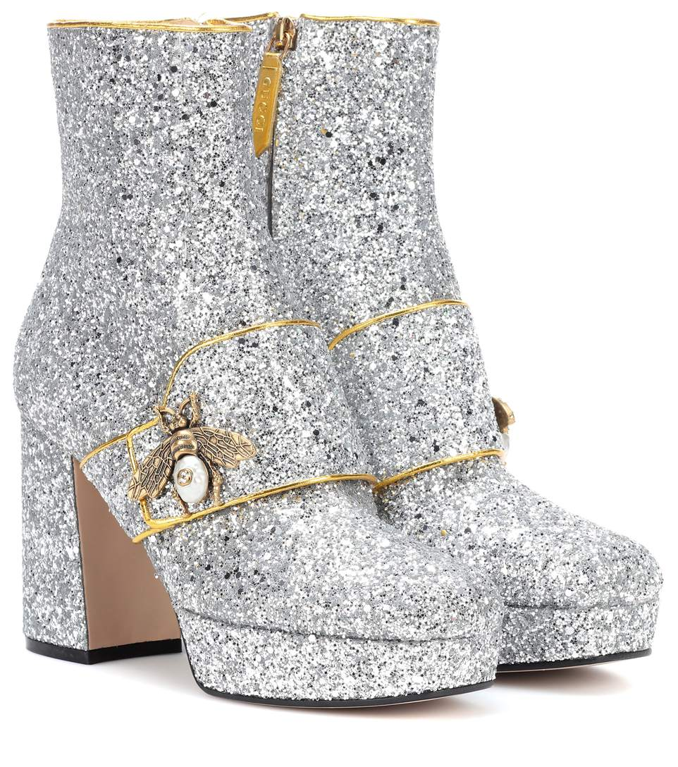 Soko Glitter Platform Ankle Boots, Silver