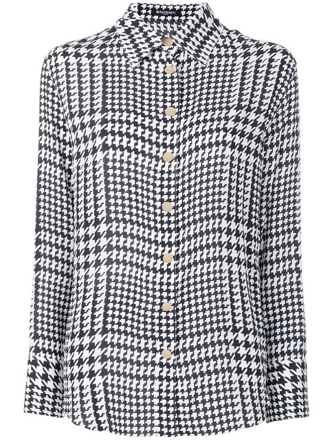 Houndstooth Print Shirt in Black
