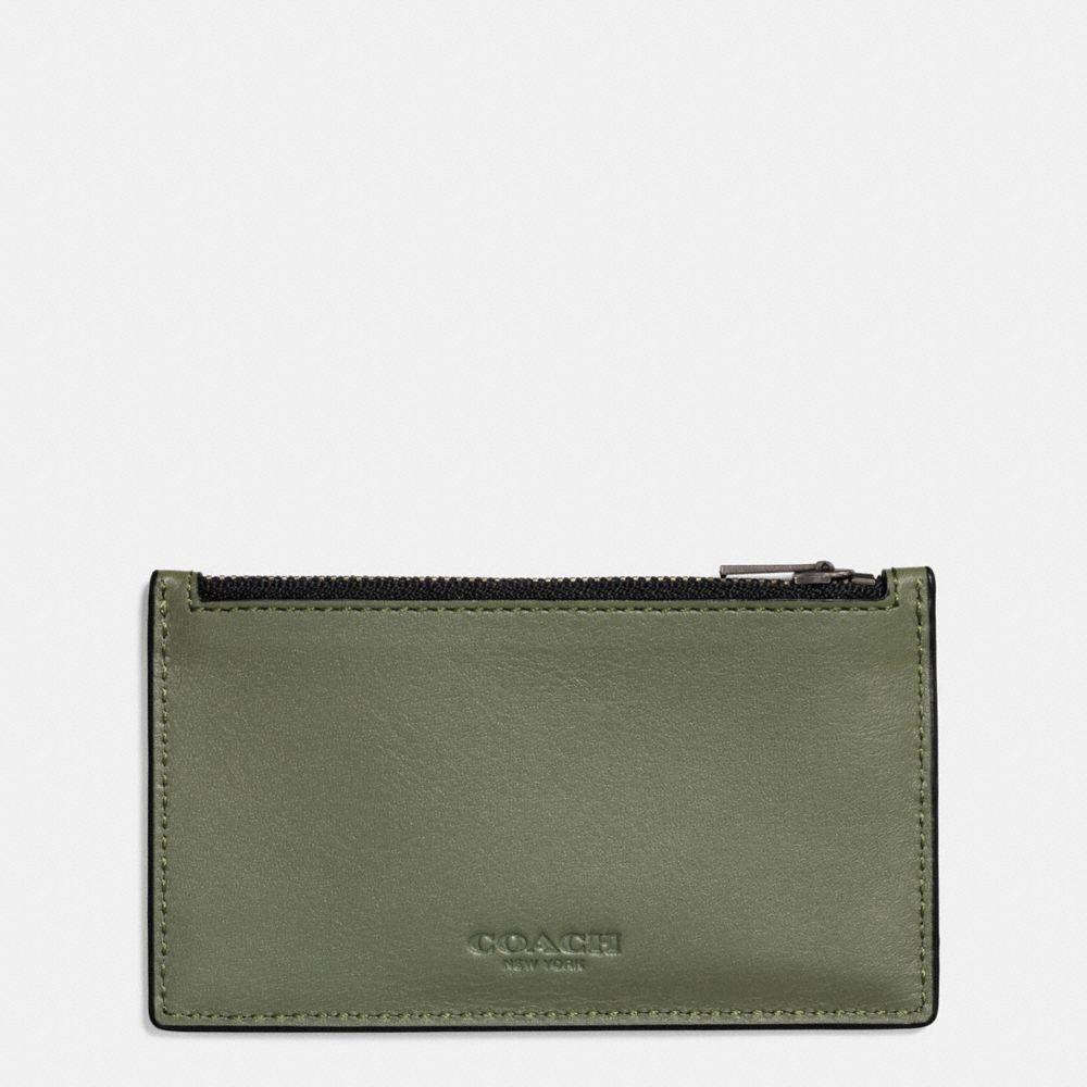 COACH Zip Card Case In Sport Calf Leather in Moss
