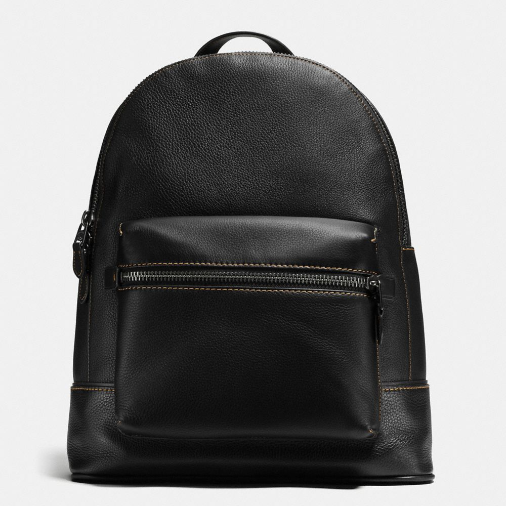 COACH League Backpack In Glovetanned Pebble Leather in Light Antique Nickel/Black