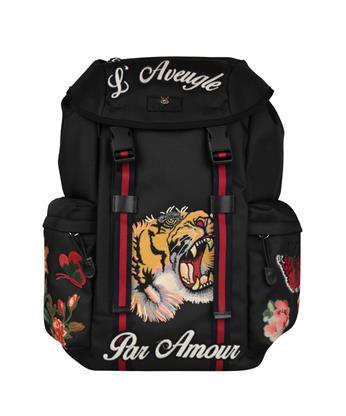 GUCCI Embroidered Cotton Backpack in Nero