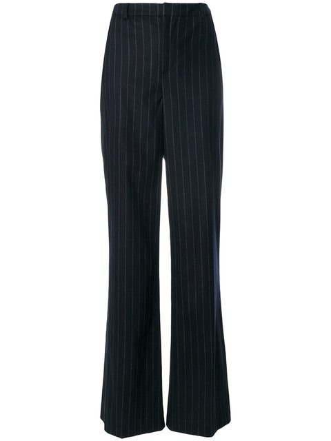 PIERRE BALMAIN Pierre Balmain Flared Pinstripe Trousers - Blue