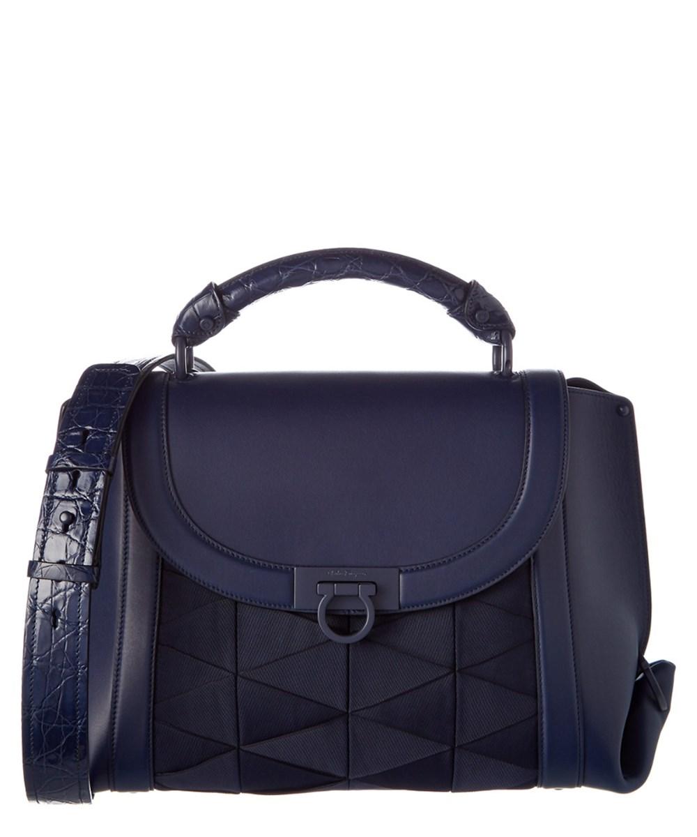 11b384bcda56 Salvatore Ferragamo Sofia Medium Origami Leather Top Handle Bag In Blue
