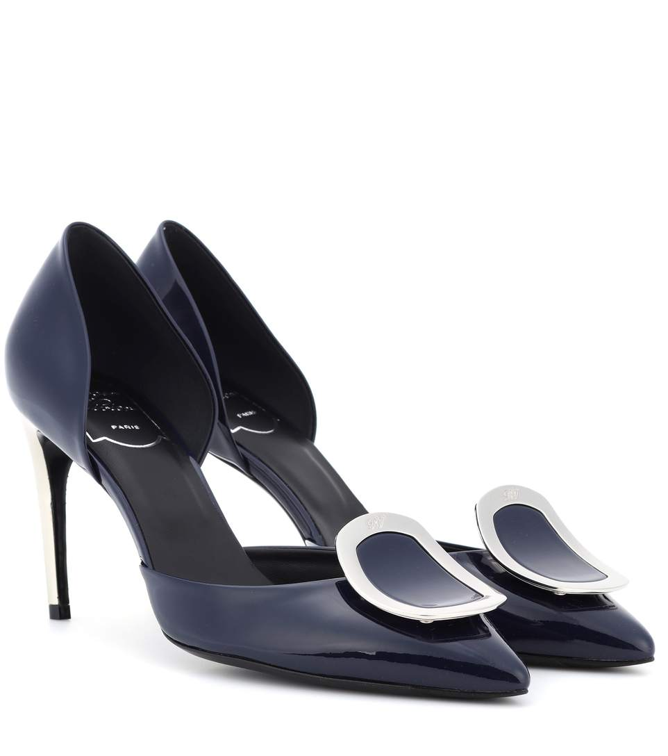 Dorsay Sexy Choc Patent Leather Pumps in Blue