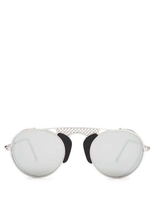 L.G.R Albatros Round-Frame Metal Sunglasses in Colour: Matte-Silver