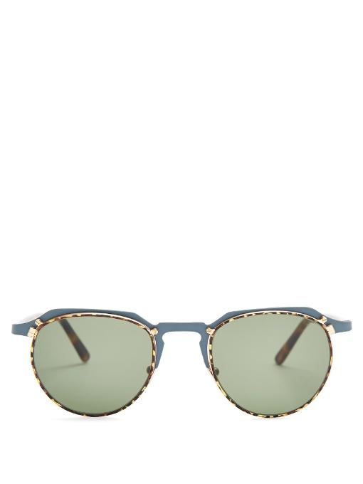 L.G.R Scorpio Two-Tone Metal Sunglasses in Colour: Grey-Blue