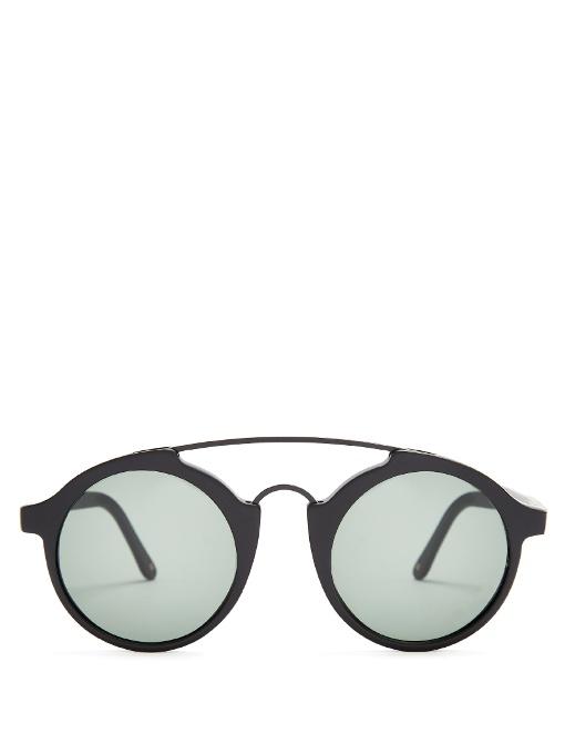 L.G.R Calabar Round-Frame Acetate Sunglasses in Colour: Black