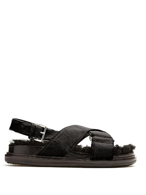 MARNI Fur-Insole Calf-Hair Sandals in Brown