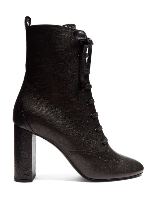 SAINT LAURENT Loulou Lace-Up Grained-Leather Ankle Boots in Black