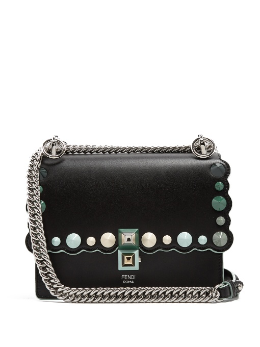 FENDI Small Kan I Imitation Pearl Stud Calfskin Shoulder Bag - Black, Black Green