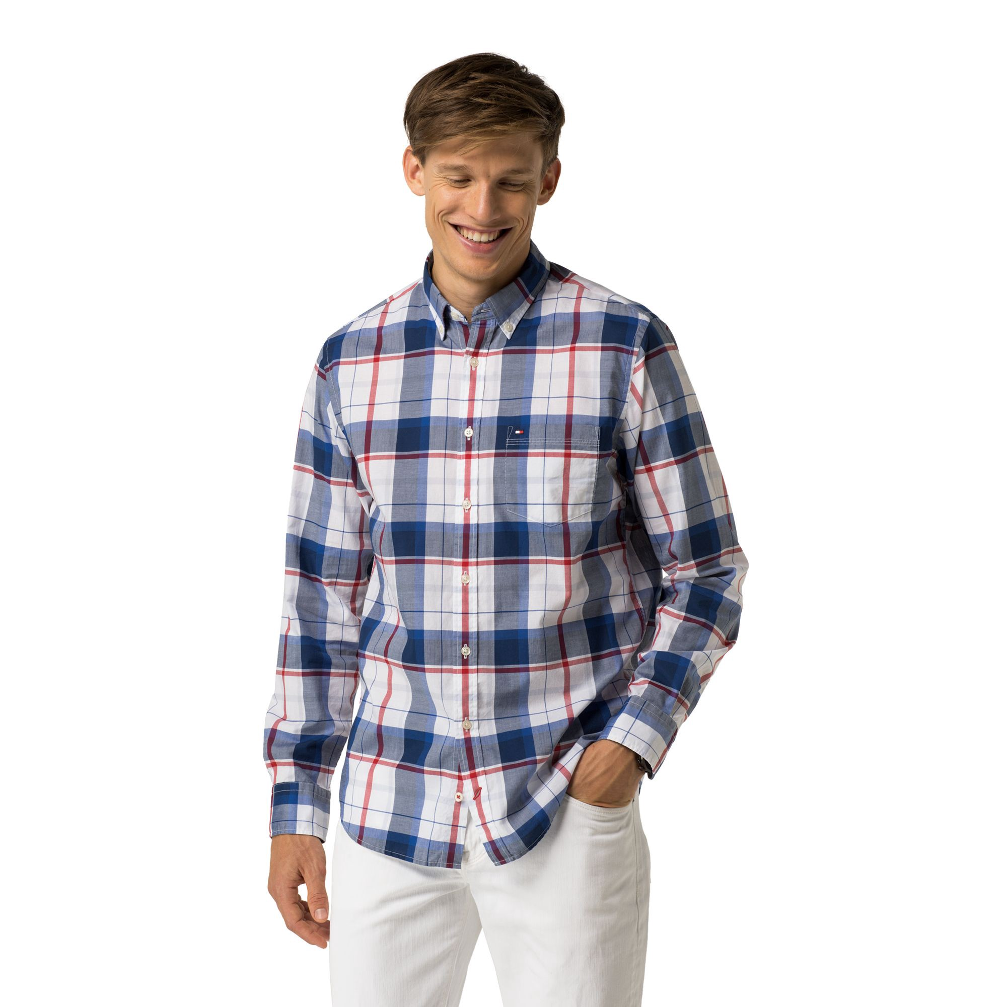 TOMMY HILFIGER New York Fit Plaid Shirt - Apple Red / Classic White / Multi