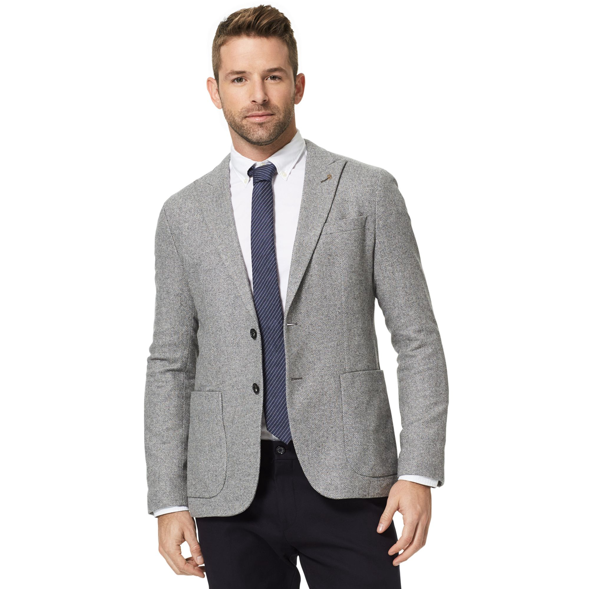 TOMMY HILFIGER Tailored Collection Slim Fit Blazer - Grey Brushed Herringbone