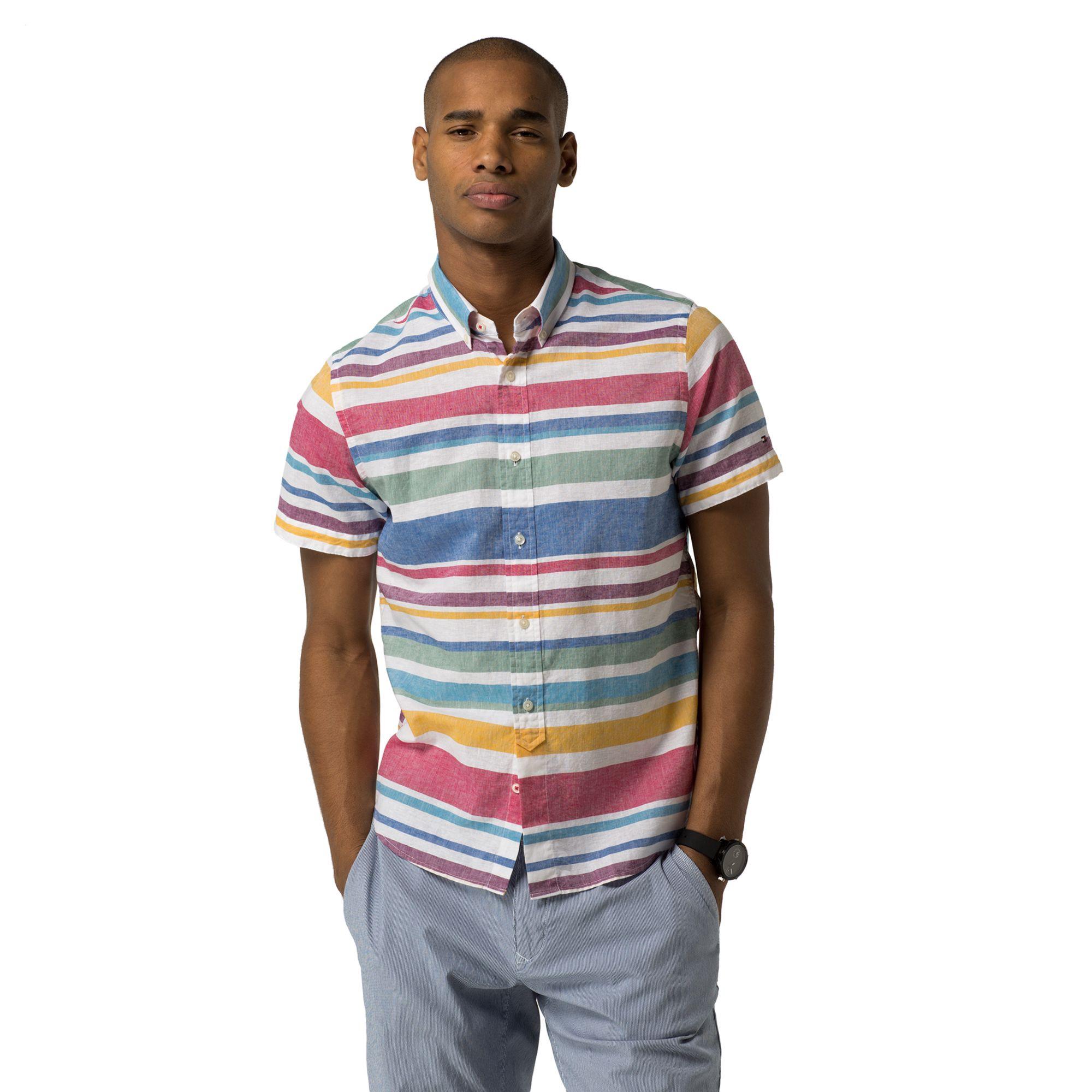 TOMMY HILFIGER Slim Fit Cotton + Linen Stripe Shirt - Frosty Spruce / Classic White / Multi
