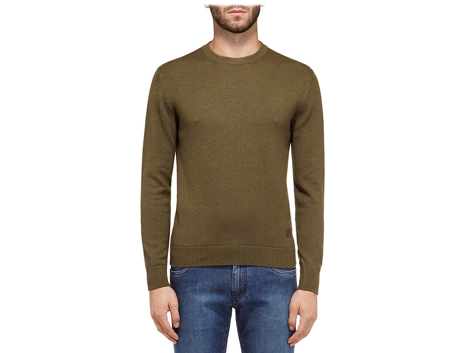 SALVATORE FERRAGAMO Round Neck Sweater_Donotuse in Khaki Green