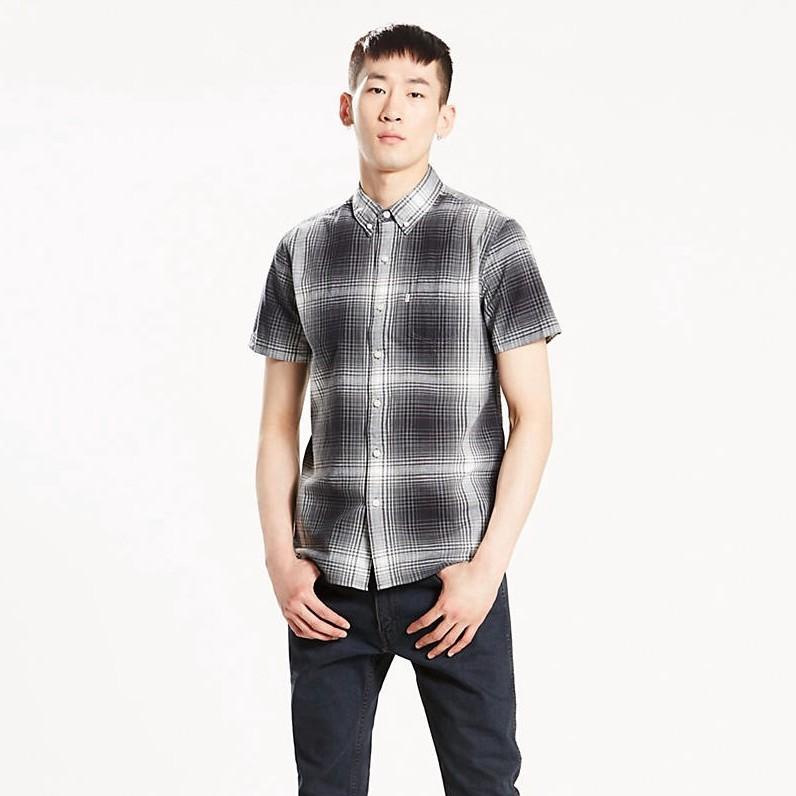 LEVI'S Short Sleeve Sunset One Pocket Shirt - Hydrangea Black Beauty Plaid