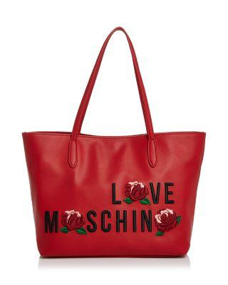 LOVE MOSCHINO Love Leather Tote in Red/Gold