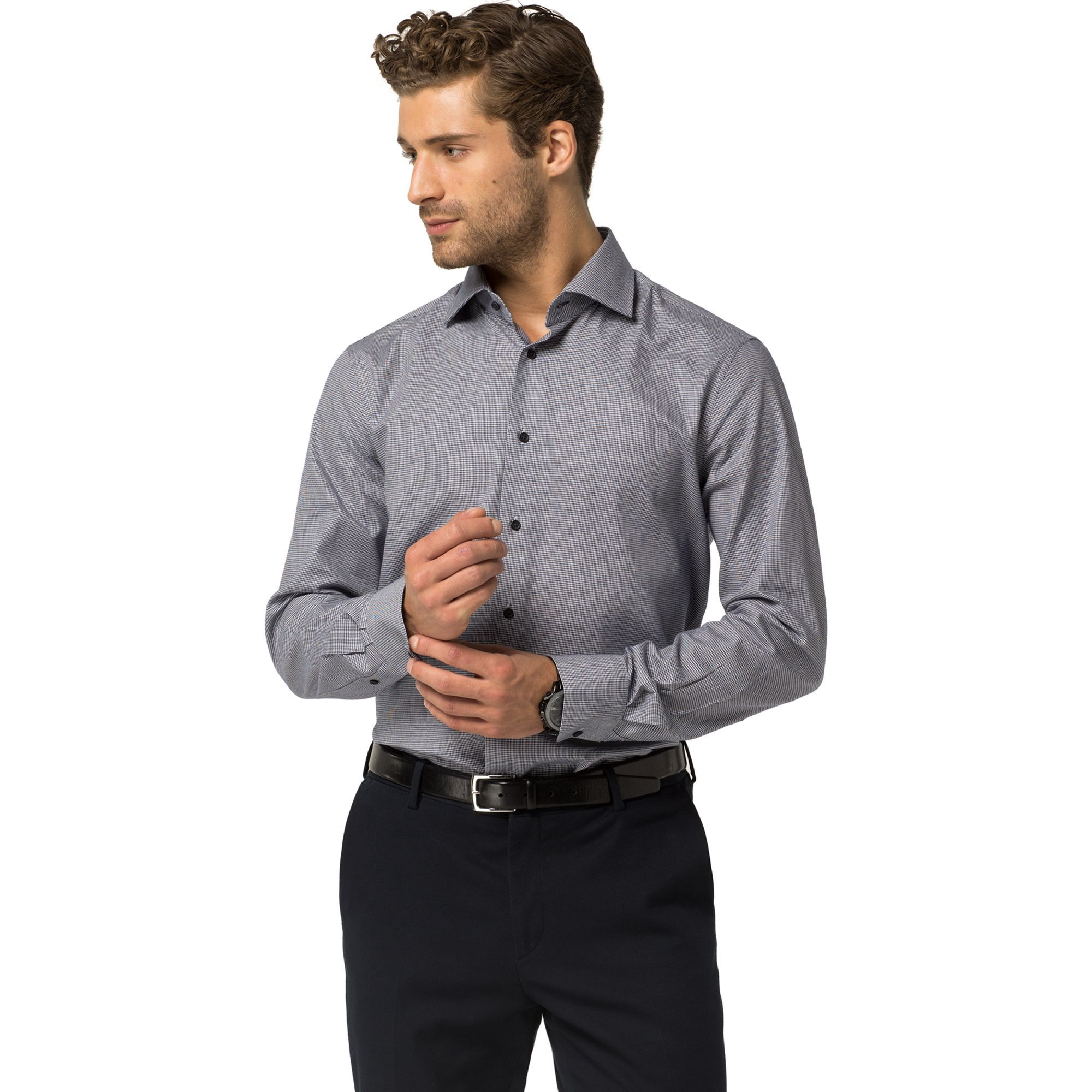 TOMMY HILFIGER Tailored Collection Fitted Dress Shirt - Navy