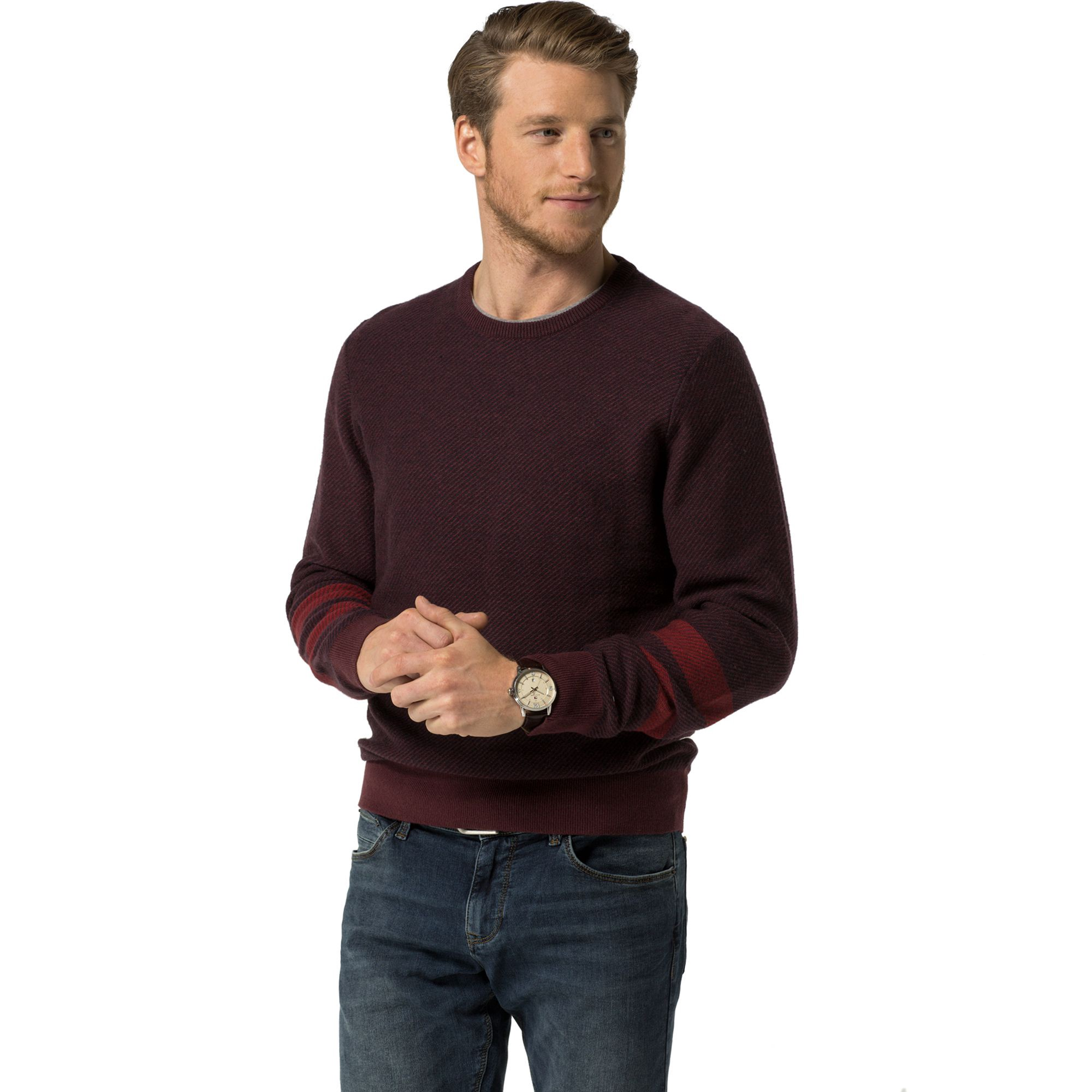 TOMMY HILFIGER Armband Crewneck Sweater - Tawny Port/ Multi