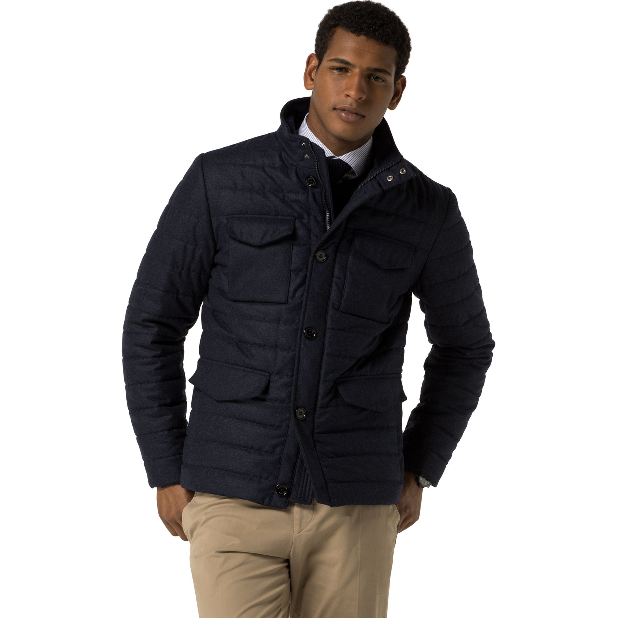 TOMMY HILFIGER Wool Flannel Puffer - Masters Navy
